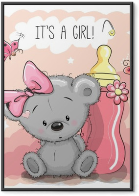 Póster Enmarcado Linda chica de dibujos animados del oso