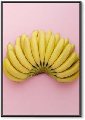 Póster Enmarcado Vista superior de plátanos maduros sobre un fondo de color rosa brillante. estilo Minimal.