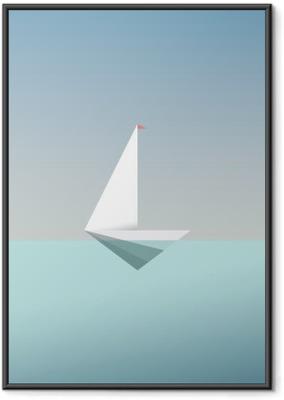 Plakat w ramie Jacht symbol ikony w nowoczesnym stylu niskiej poli. Letnie wakacje lub podróż wakacje tła. Metafora działalności na rzecz wolności i sukcesu.