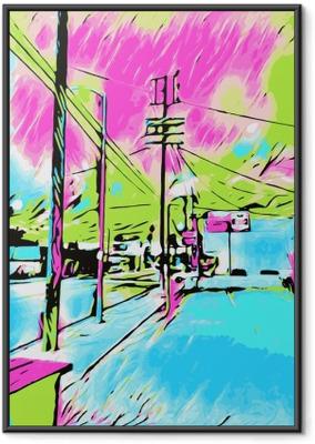 Póster com Moldura Desenho e pintura azul cidade com rosa e céu verde