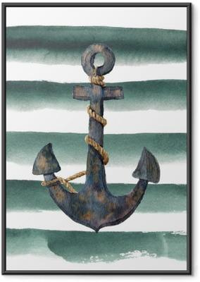 Ingelijste Poster Waterverf retro anker met kabel op gestreepte achtergrond. vintage illustratie geïsoleerd op een witte achtergrond. voor ontwerp, afdrukken of achtergrond