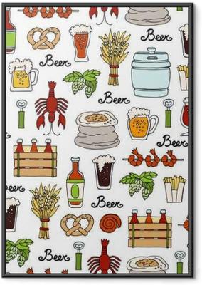 Ingelijste Poster Patroon met de hand getekend gekleurde fles en glas bier, snacks in schets stijl. Patroon op het thema van bier