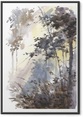 Ingelijste Poster Aquarel hand geschilderd abstract landschap, diep bos, drieën in de zon.