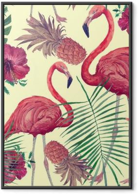 Gerahmtes Poster Nahtloses Aquarellmuster mit Flamingo, Blätter, Blumen. Hanad gezeichnet.