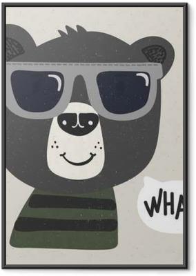 Cool sarjakuva karhu aurinkolasit Kehystetty juliste