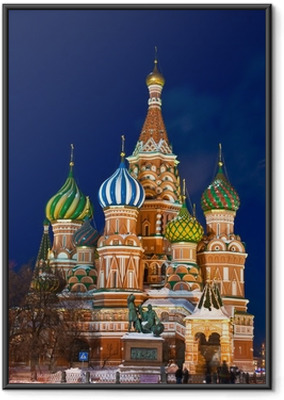 The Saint Basil's cathedral at night, Moscow Framed Poster