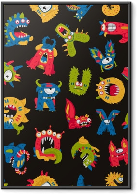 Pattern of cute monsters Framed Poster