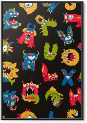 Poster en cadre Motif de monstres mignons - Ressources graphiques
