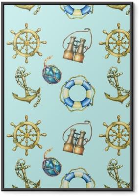 Ingelijste Poster Naadloze patroon met nautische elementen, geïsoleerd op pastel turquoise achtergrond. oude verrekijker, reddingsboei, antiek zeilbootstuurwiel, scheepsanker. aquarel hand getekend schilderij illustratie.