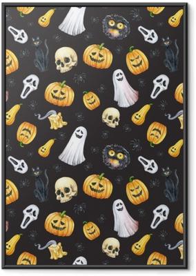 Poster en cadre Heureux halloween sans soudure de fond. citrouille drôle, fantôme, chat noir, monstres. illustration aquarelle