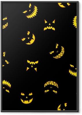 Poster en cadre Modèle sans couture avec citrouilles d'halloween sculpté silhouettes de visages sur fond noir. fond d'halloween