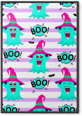 Abstract seamless pattern for girls or boys. Creative vector background with multicolored slug, like a jelly, halloween. Funny wallpaper for textile and fabric. Fashion style. Colorful bright picture Framed Poster