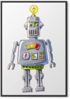 cartoon watercolor doodle robot Framed Poster