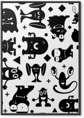 Poster en cadre Modèle noir et blanc sans couture avec des monstres.
