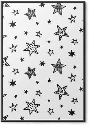 Gerahmtes Poster Nahtlose Muster mit Hand gezeichneten Sternen. skandinavischer Stil