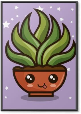 Poster en cadre Dessins animés de plantes kawaii