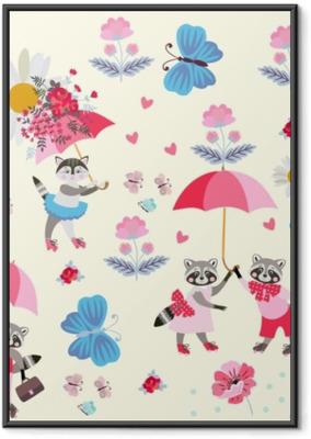 Hauskoja pieniä pesukarhuja ja kittyjä vaaleanpunaisella taustalla, vaaleanpunaisilla sateenvarjoilla, perhosilla, kukkilla ja sydämillä. loputon malli lapsille. vektori keväällä tai kesällä. Kehystetty juliste