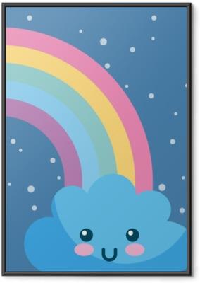 Poster en cadre Kawaii météo arc-en-ciel nuage
