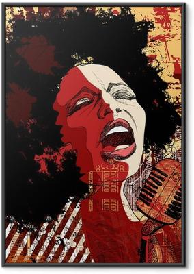 Poster i Ram Jazzsångerska på grunge bakgrund