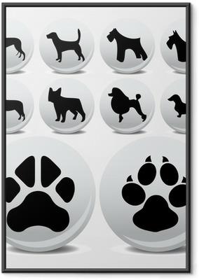Ingelijste Poster Honden collectie vector iconen en voetafdrukken
