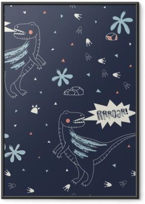 Ingelijste Poster Kinderachtig naadloos patroon met hand getrokken Dino in Skandinavische stijl. creatieve vector-achtige achtergrond voor stof, textiel, kleding en meer