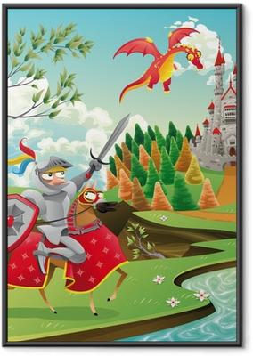 Plakat w ramie Panorama z zamku, Smok i rycerz. ilustracji wektorowych