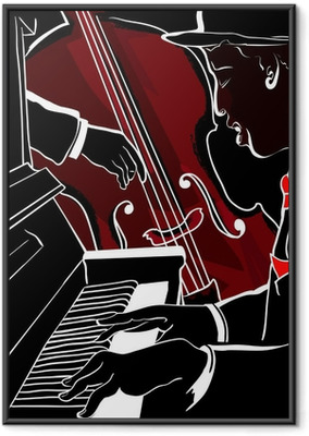 Vector illustration of a Jazz piano and double-bass Framed Poster