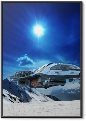 spaceship in snow planet Framed Poster