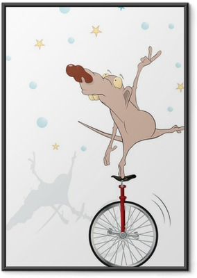 Ingelijste Poster Rat in circus. De equilibrist