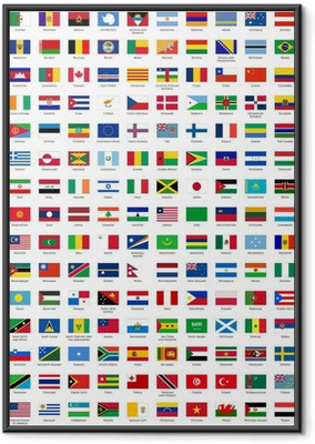 alphabetically sorted flags of the world Framed Poster