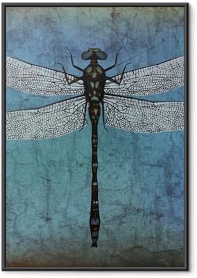 Gerahmtes Poster Dragonfly-Grunge-Hintergrund