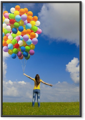 Poster i Ram Flicka med färgglada ballonger