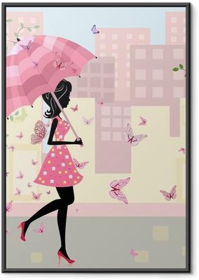 Ingelijste Poster Mooi meisje met een paraplu in de stad