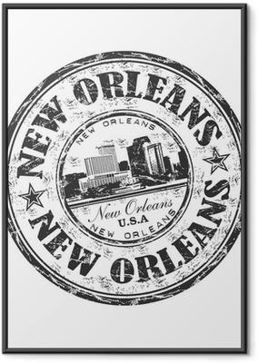 Ingelijste Poster New Orleans grunge rubberen stempel