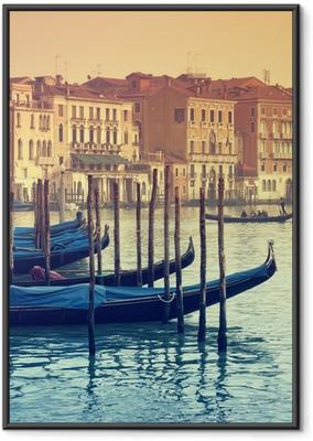 Çerçeveli Poster Büyük Kanal ve gondollar