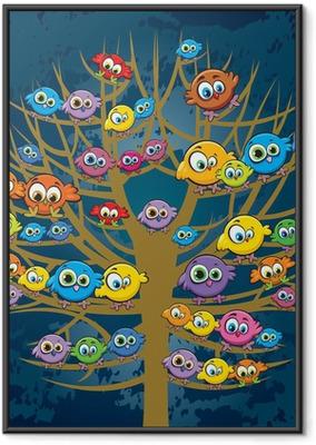 Gerahmtes Poster Lustige Vögel und Baum