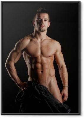 Gerahmtes Poster Muskulösen jungen sexy nackten Mann in Seide gehüllt