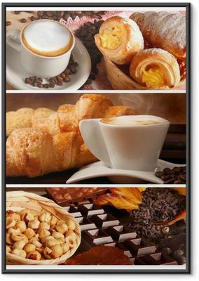 Gerahmtes Poster Italienische Speisen, Cappuccino und heiße Schokolade mit Haselnüssen