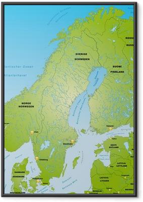 Ingelijste Poster Skandinavien als Übersichtskarte