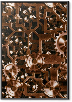 steampunk cogs and gears Framed Poster