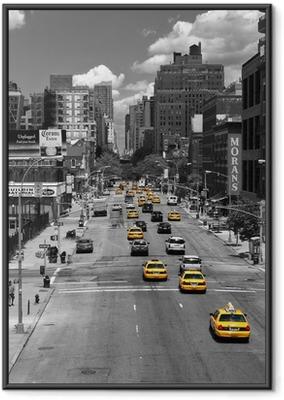 Poster en cadre Disque Taxi - Villes américaines
