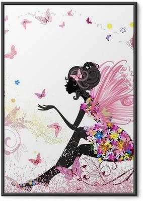 Gerahmtes Poster Flower Fairy in der Umgebung von Schmetterlingen