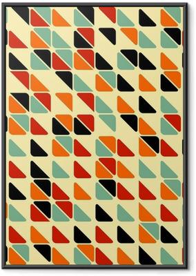 Gerahmtes Poster Retro abstrakte nahtlose Muster mit Dreiecken