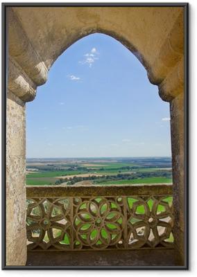Póster com Moldura landscape through castle gothic window, Spain