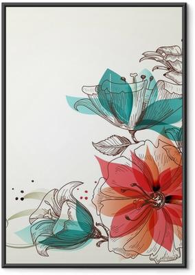 Vintage flowers background Framed Poster