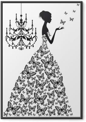 Póster Enmarcado Mujer con mariposas, vector