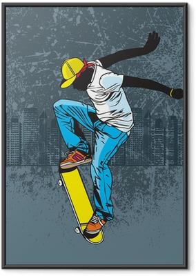 Póster com Moldura Skateboarding
