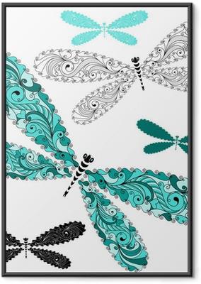 Poster en cadre Ensemble dentelle libellules cru