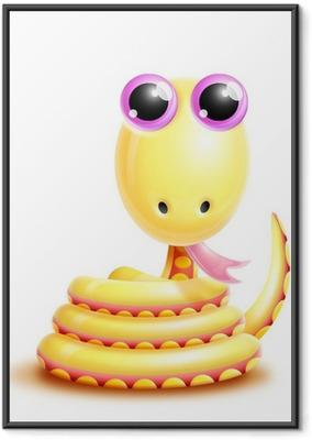 Poster en cadre Lunatique Kawaii Serpent mignon