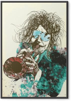 Ingelijste Poster Muzikant, trompettist. Hand tekening in vector